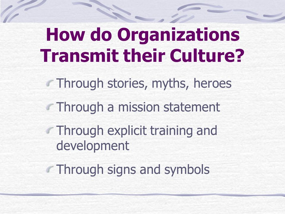 How do Organizations Transmit their Culture.
