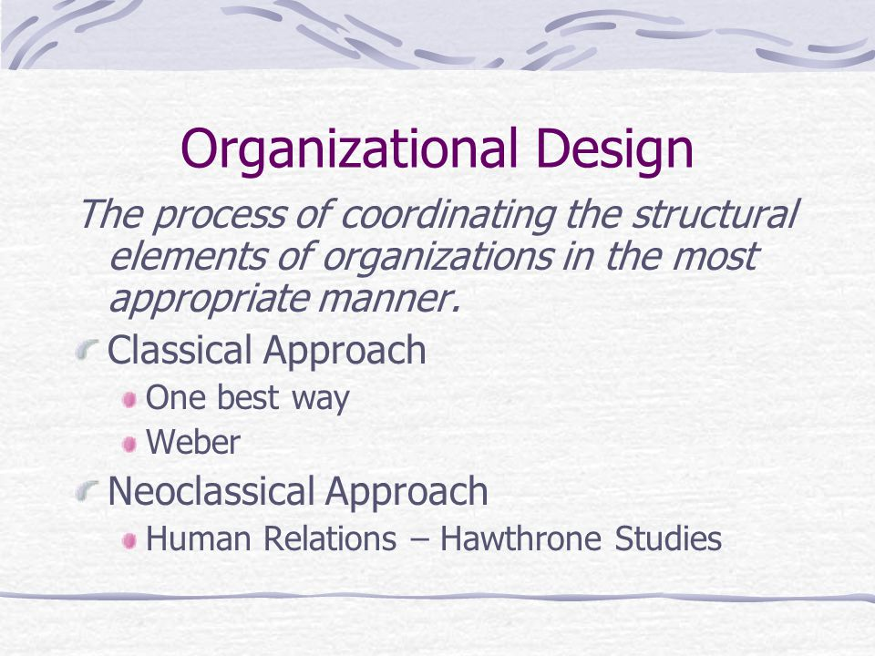 Organizational Design The process of coordinating the structural elements of organizations in the most appropriate manner.