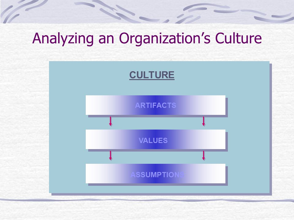 Analyzing an Organization's Culture ARTIFACTS CULTURE VALUES ASSUMPTIONS
