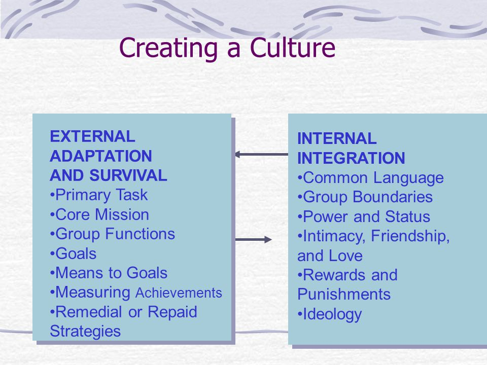 Creating a Culture EXTERNAL ADAPTATION AND SURVIVAL Primary Task Core Mission Group Functions Goals Means to Goals Measuring Achievements Remedial or Repaid Strategies INTERNAL INTEGRATION Common Language Group Boundaries Power and Status Intimacy, Friendship, and Love Rewards and Punishments Ideology