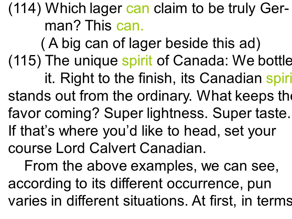 (114) Which lager can claim to be truly Ger- man. This can.