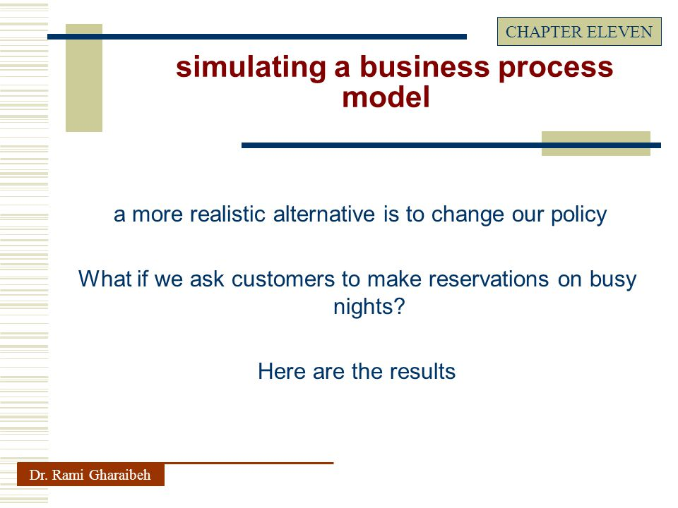 a more realistic alternative is to change our policy What if we ask customers to make reservations on busy nights.
