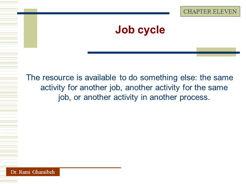 The resource is available to do something else: the same activity for another job, another activity for the same job, or another activity in another process.