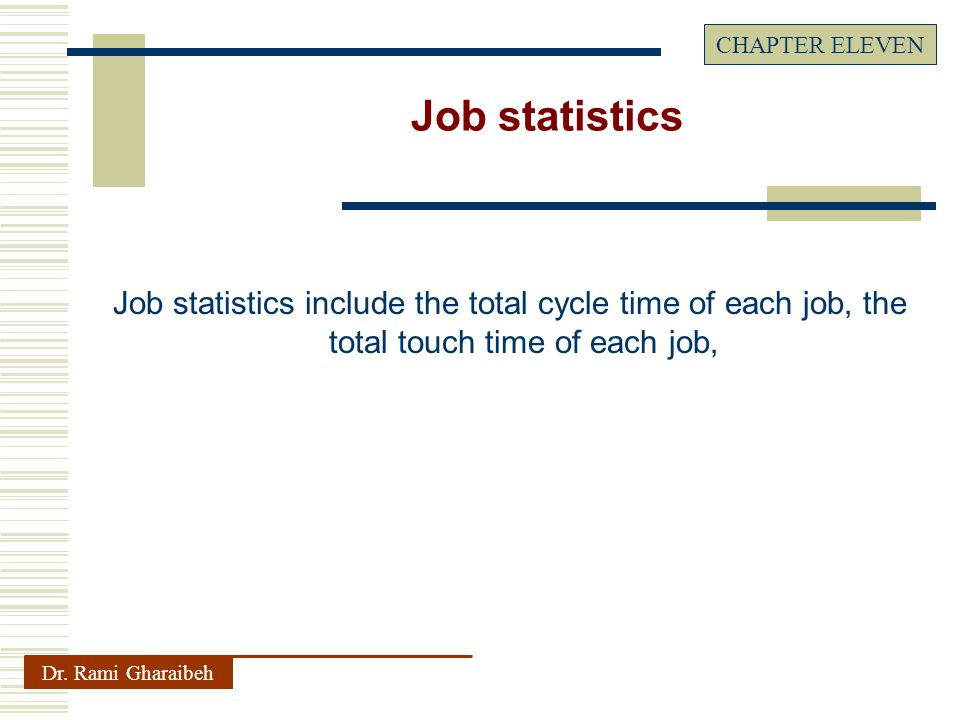 Job statistics include the total cycle time of each job, the total touch time of each job, Dr.