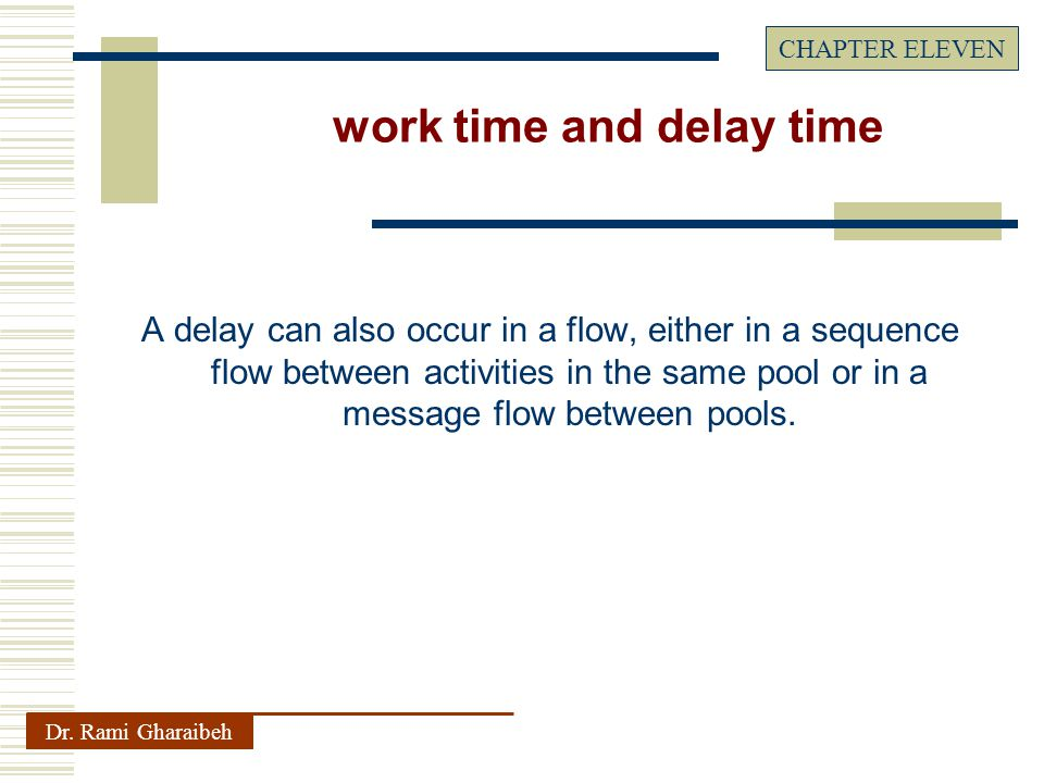 A delay can also occur in a flow, either in a sequence flow between activities in the same pool or in a message flow between pools.