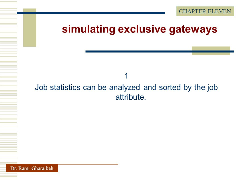 1 Job statistics can be analyzed and sorted by the job attribute.