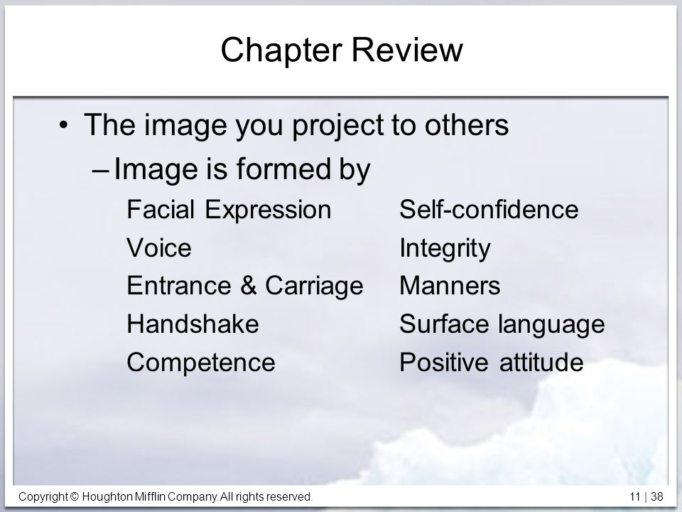 Copyright © Houghton Mifflin Company. All rights reserved. 11 | 38 Chapter Review The image you project to others –Image is formed by Facial Expressio