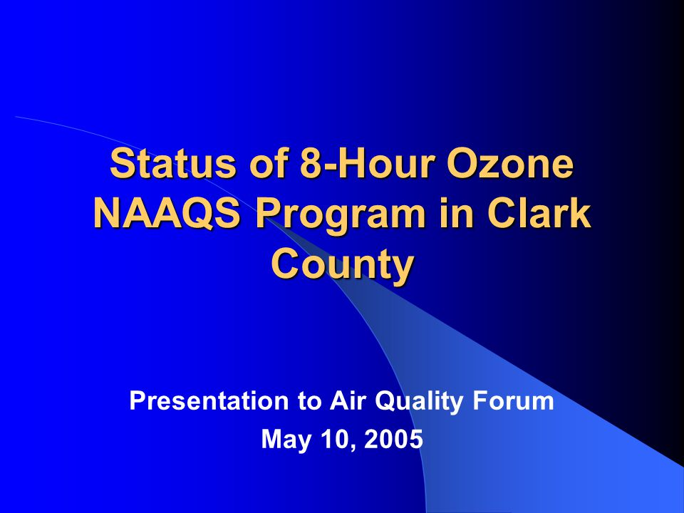 Background EPA issued final nonattainment designations for 8-hour ozone NAAQS on April 30, 2004.