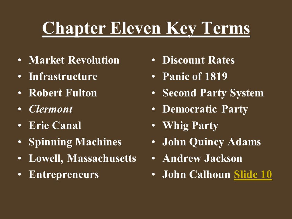 Chapter Eleven Key Terms Market Revolution Infrastructure Robert Fulton Clermont Erie Canal Spinning Machines Lowell, Massachusetts Entrepreneurs Disc