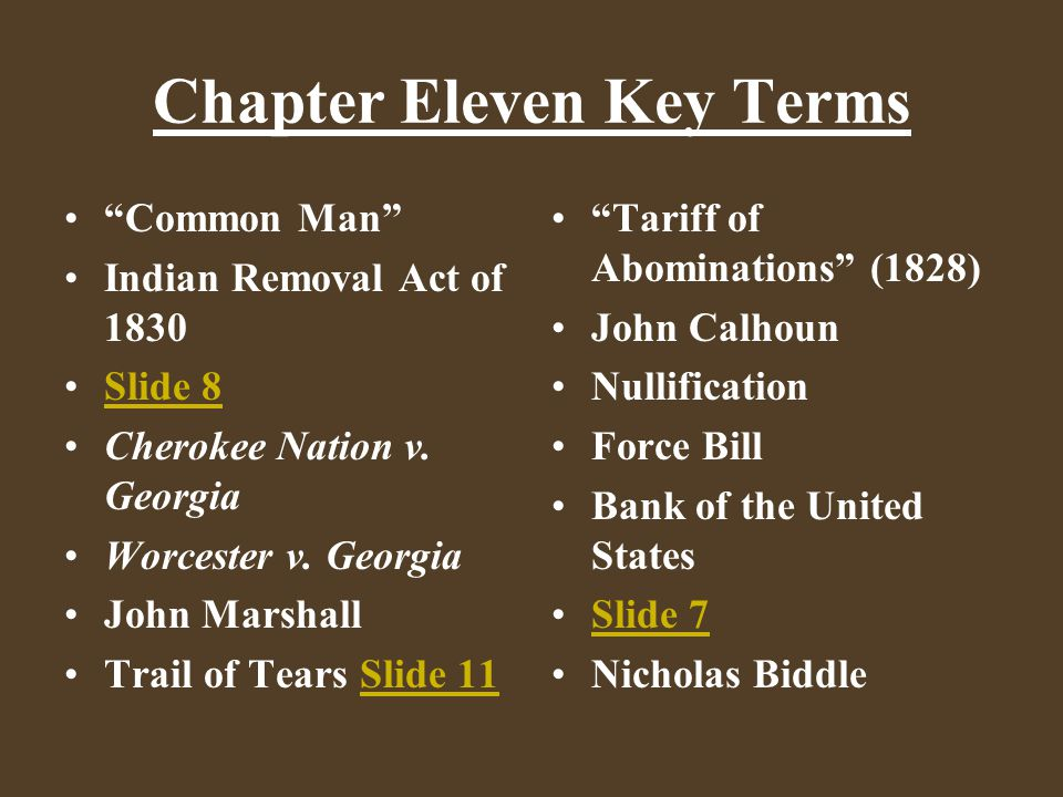 Chapter Eleven Key Terms Common Man Indian Removal Act of 1830 Slide 8 Cherokee Nation v.
