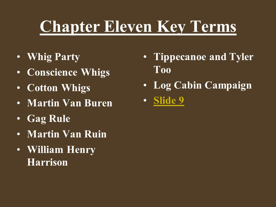 Chapter Eleven Key Terms Whig Party Conscience Whigs Cotton Whigs Martin Van Buren Gag Rule Martin Van Ruin William Henry Harrison Tippecanoe and Tyle