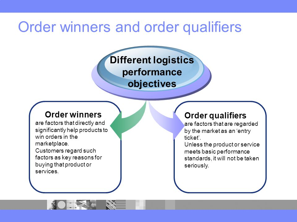 Order winners and order qualifiers Order winners are factors that directly and significantly help products to win orders in the marketplace.