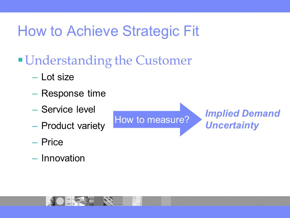 How to Achieve Strategic Fit  Understanding the Customer –Lot size –Response time –Service level –Product variety –Price –Innovation How to measure.