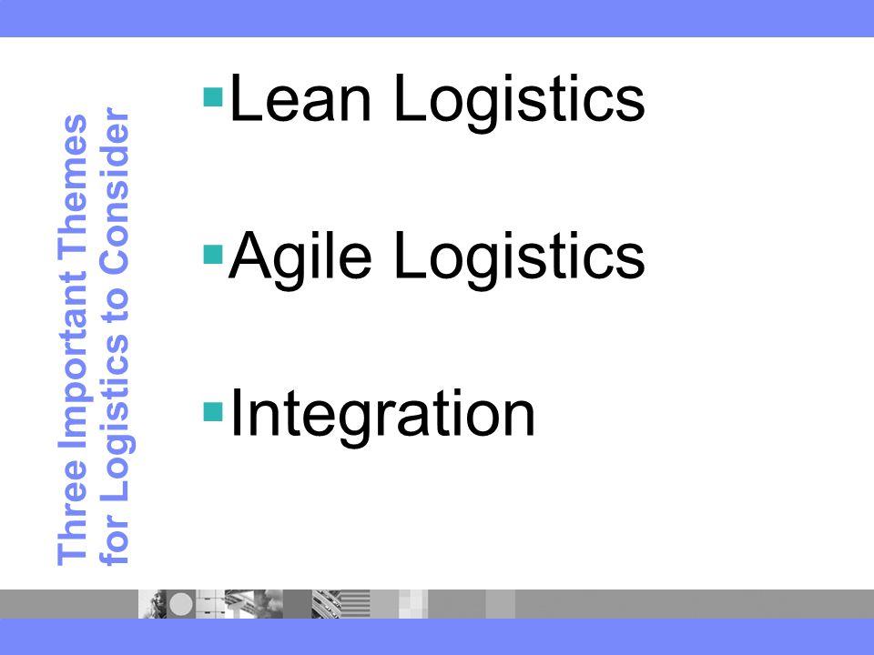 Three Important Themes for Logistics to Consider  Lean Logistics  Agile Logistics  Integration