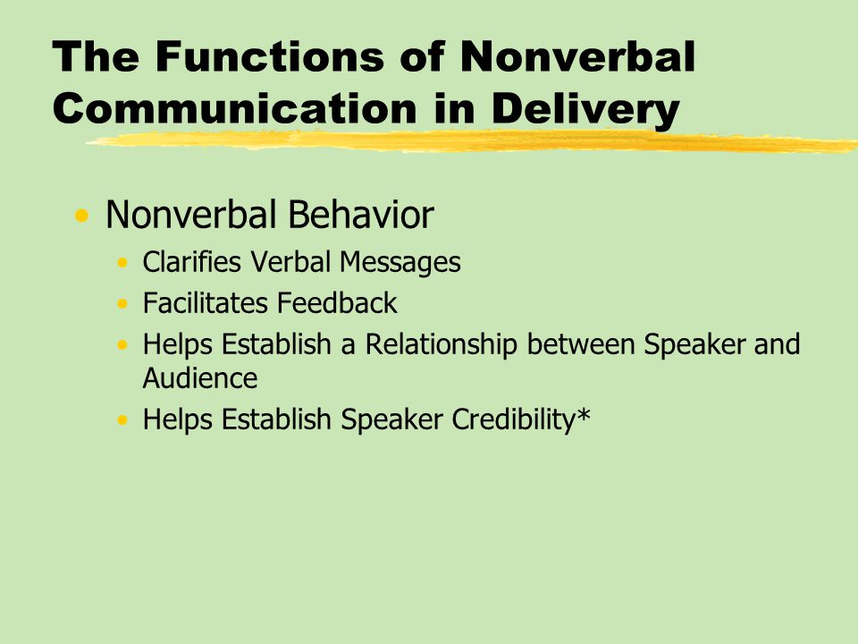 The Functions of Nonverbal Communication in Delivery Nonverbal Behavior Clarifies Verbal Messages Facilitates Feedback Helps Establish a Relationship between Speaker and Audience Helps Establish Speaker Credibility*