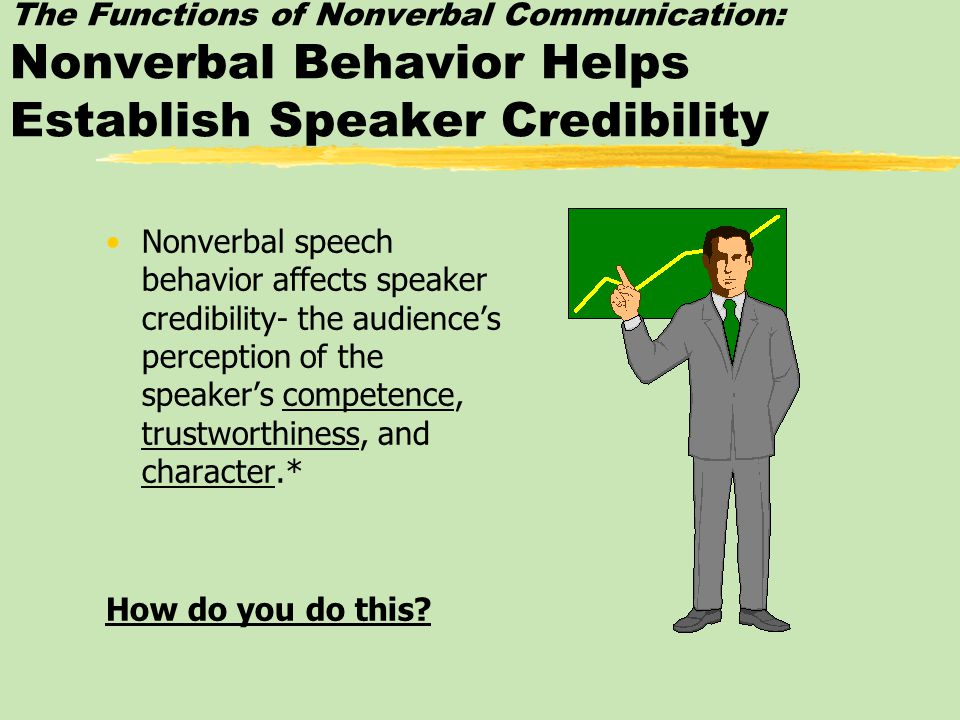 The Functions of Nonverbal Communication: Nonverbal Behavior Helps Establish Speaker Credibility Nonverbal speech behavior affects speaker credibility- the audience's perception of the speaker's competence, trustworthiness, and character.* How do you do this