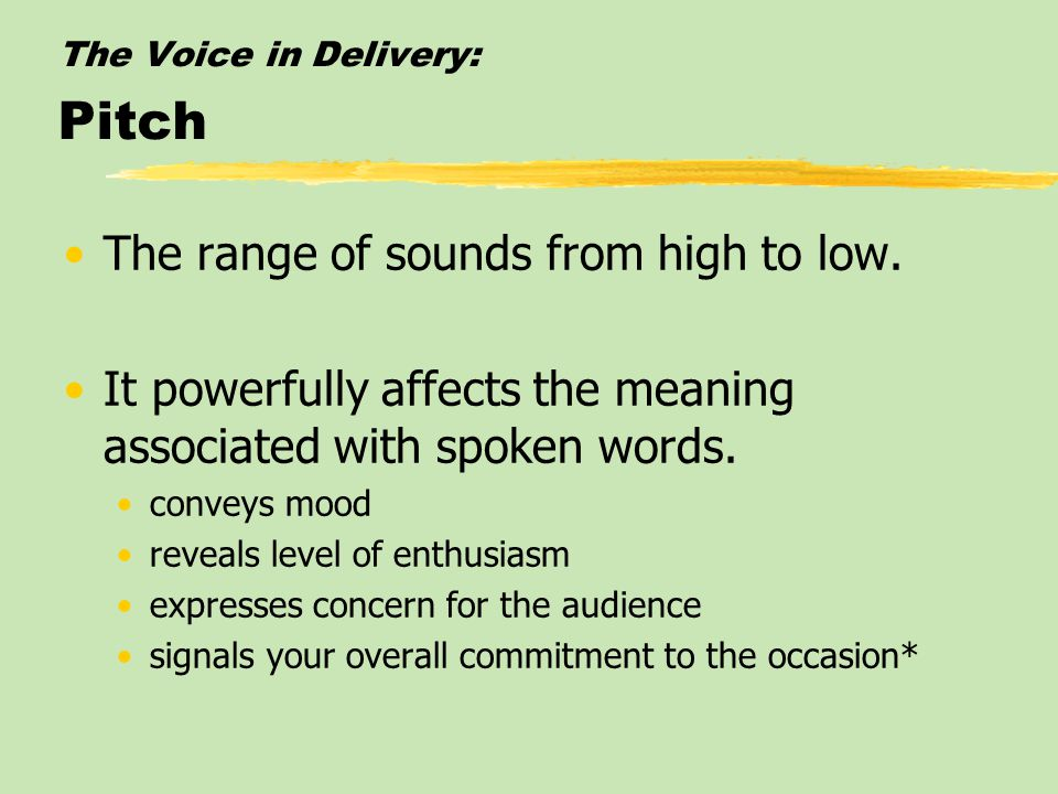 The Voice in Delivery: Pitch The range of sounds from high to low.