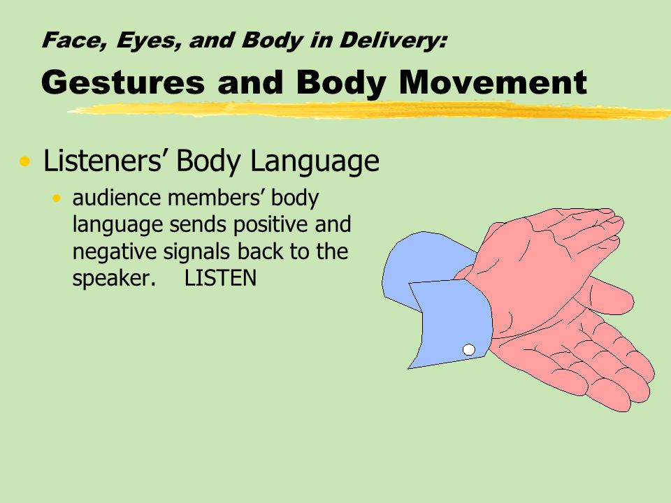 Face, Eyes, and Body in Delivery: Gestures and Body Movement Listeners' Body Language audience members' body language sends positive and negative signals back to the speaker.