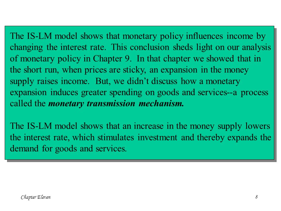 Chapter Eleven8 The IS-LM model shows that monetary policy influences income by changing the interest rate.
