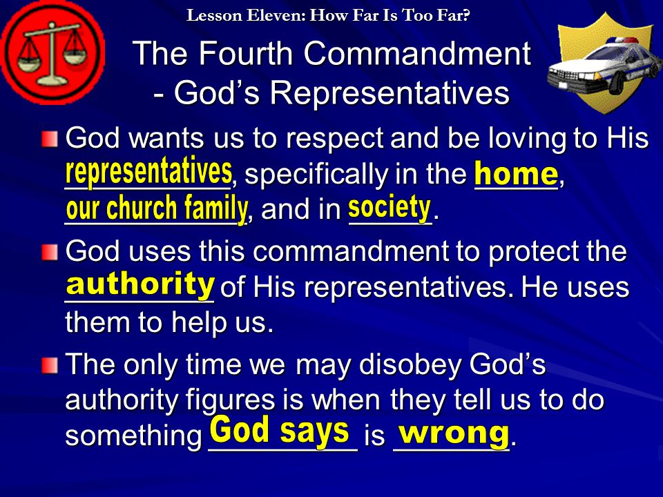 The Fourth Commandment - God's Representatives God wants us to respect and be loving to His __________, specifically in the _____, ___________, and in _____.