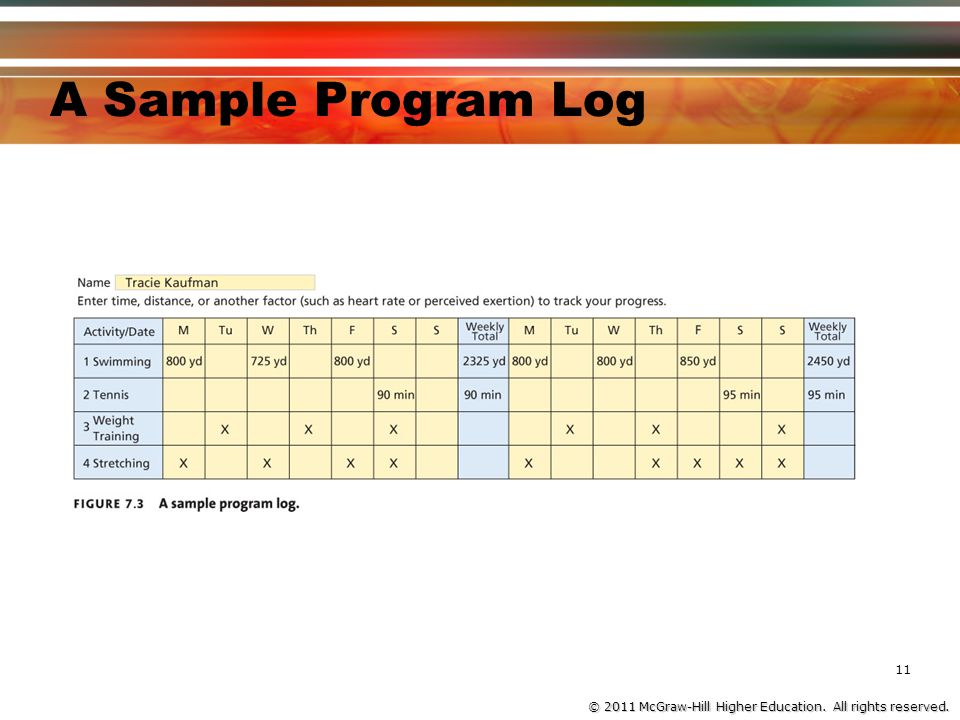 © 2011 McGraw-Hill Higher Education. All rights reserved. A Sample Program Log 11