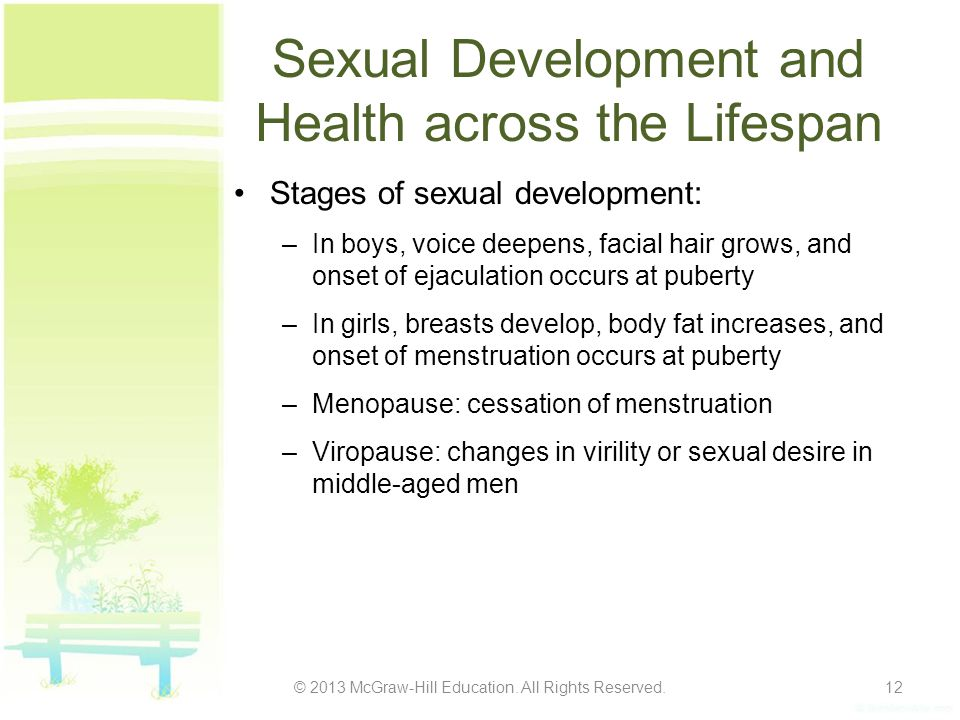 Sexual Development and Health across the Lifespan Stages of sexual development: –In boys, voice deepens, facial hair grows, and onset of ejaculation o