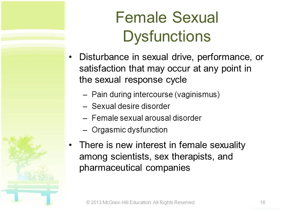 Female Sexual Dysfunctions Disturbance in sexual drive, performance, or satisfaction that may occur at any point in the sexual response cycle –Pain du