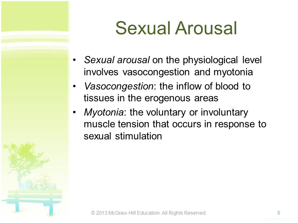Sexual Arousal Sexual arousal on the physiological level involves vasocongestion and myotonia Vasocongestion: the inflow of blood to tissues in the er