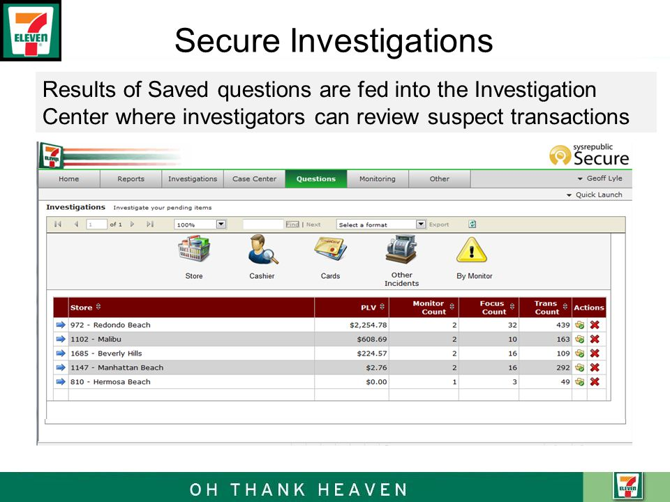 Secure Investigations Results of Saved questions are fed into the Investigation Center where investigators can review suspect transactions