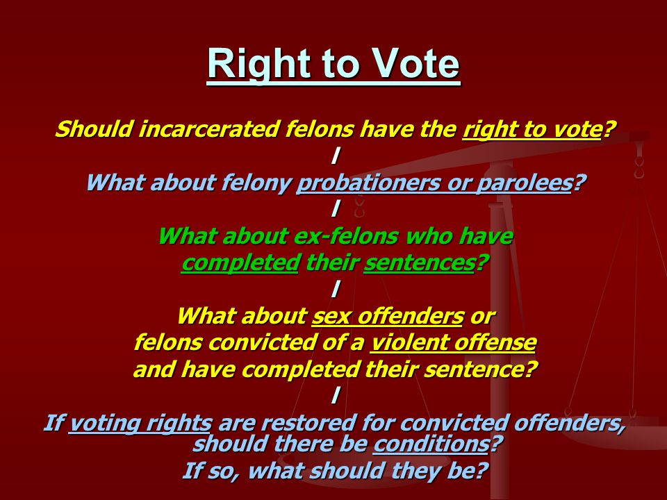 Right to Vote Should incarcerated felons have the right to vote.