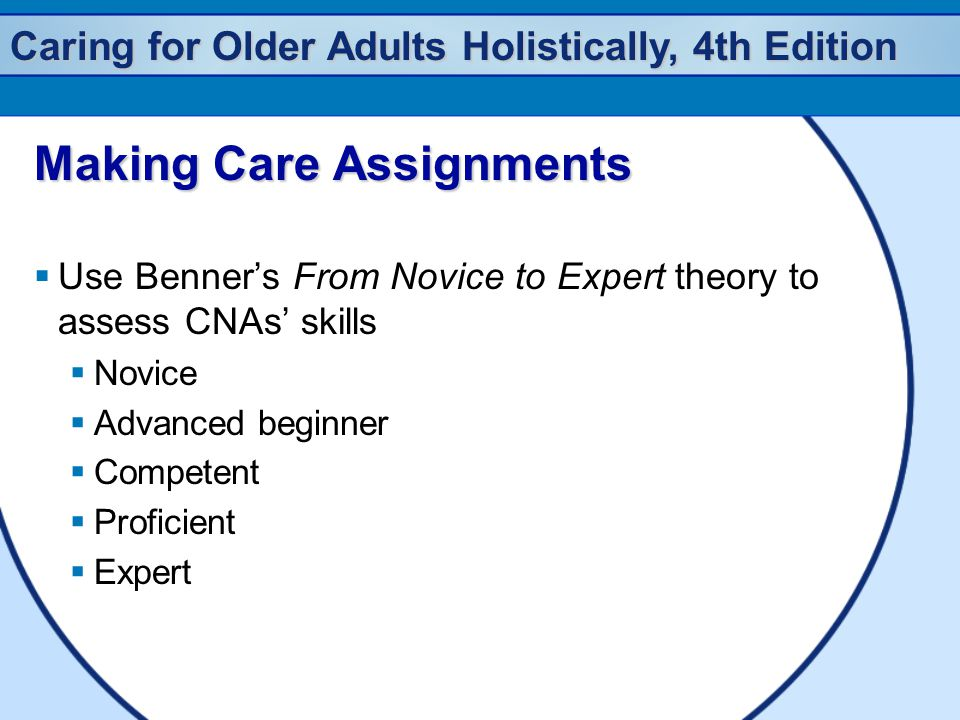 Caring for Older Adults Holistically, 4th Edition Making Care Assignments  Use Benner's From Novice to Expert theory to assess CNAs' skills  Novice  Advanced beginner  Competent  Proficient  Expert