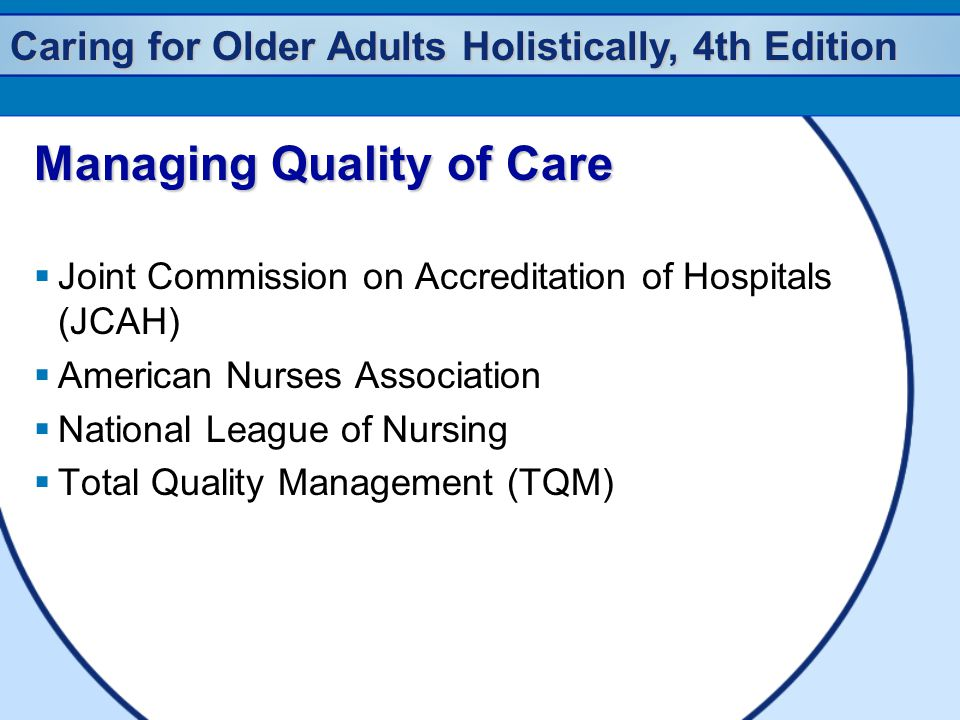 Caring for Older Adults Holistically, 4th Edition Managing Quality of Care  Joint Commission on Accreditation of Hospitals (JCAH)  American Nurses Association  National League of Nursing  Total Quality Management (TQM)