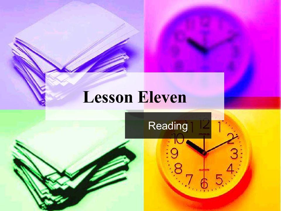 Lesson Eleven Reading