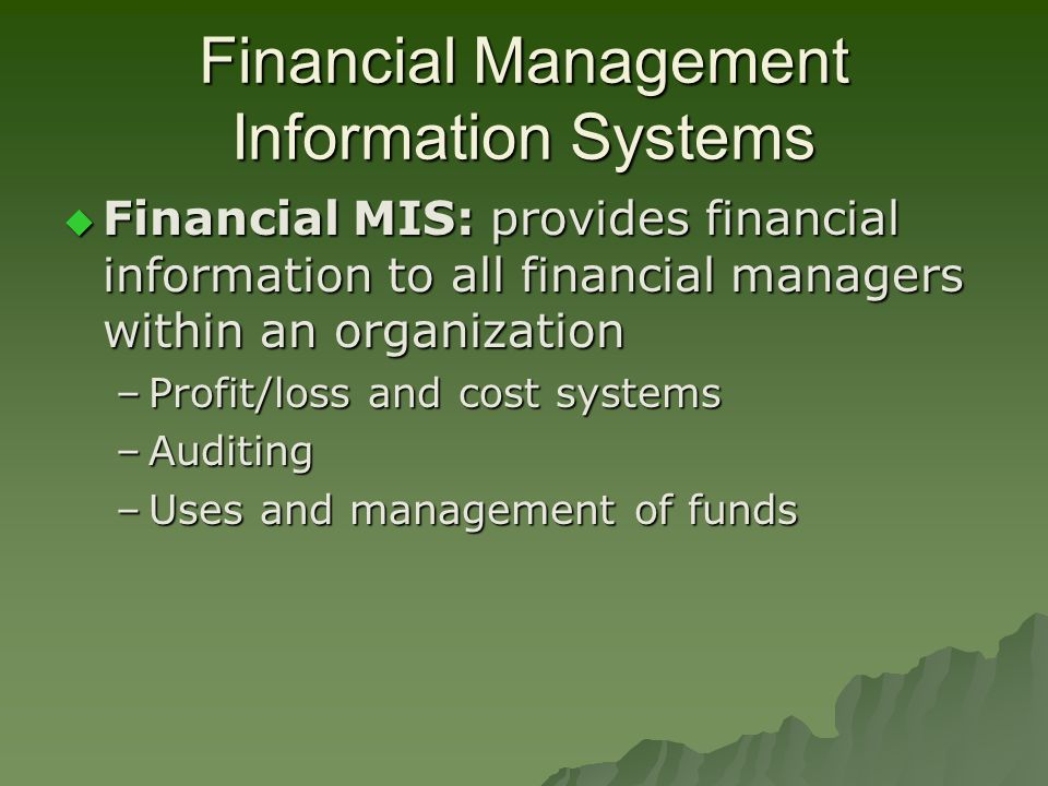 Financial Management Information Systems  Financial MIS: provides financial information to all financial managers within an organization –Profit/loss and cost systems –Auditing –Uses and management of funds