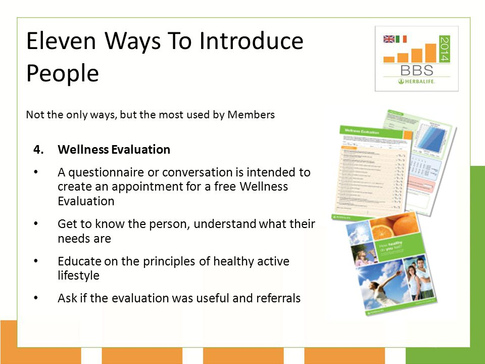 4.Wellness Evaluation A questionnaire or conversation is intended to create an appointment for a free Wellness Evaluation Get to know the person, unde