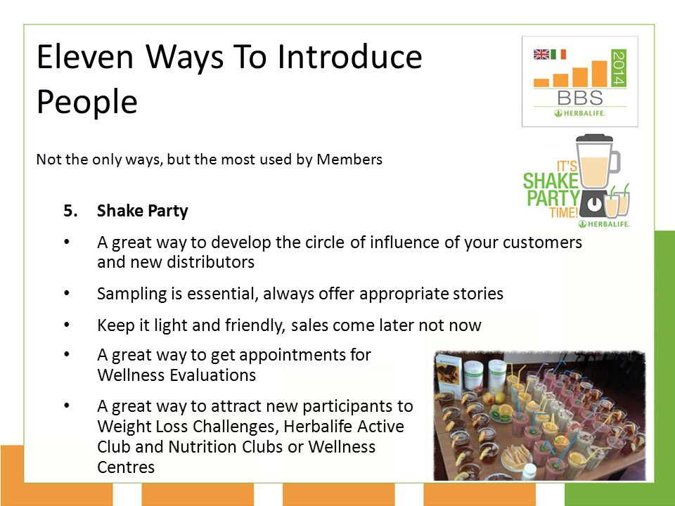 Not the only ways, but the most used by Members Eleven Ways To Introduce People 5.Shake Party A great way to develop the circle of influence of your c