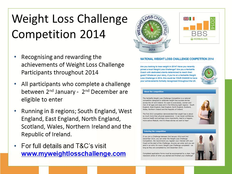 Weight Loss Challenge Competition 2014 Recognising and rewarding the achievements of Weight Loss Challenge Participants throughout 2014 All participan