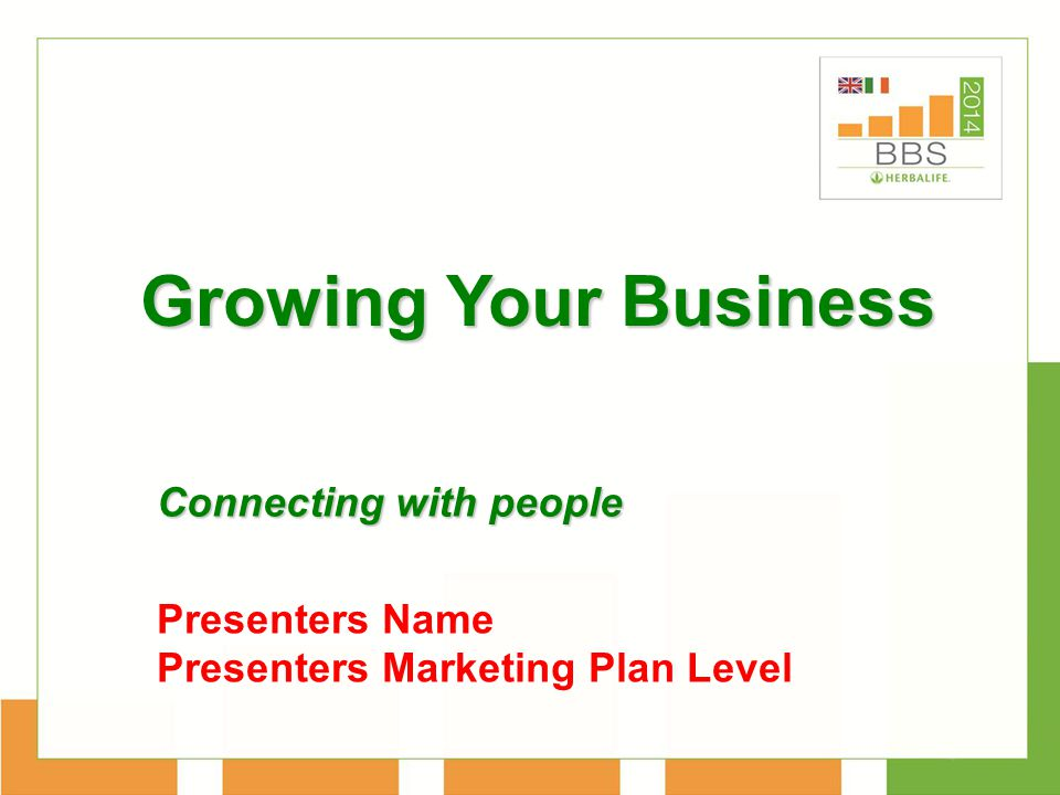 Growing Your Business Connecting with people Presenters Name Presenters Marketing Plan Level