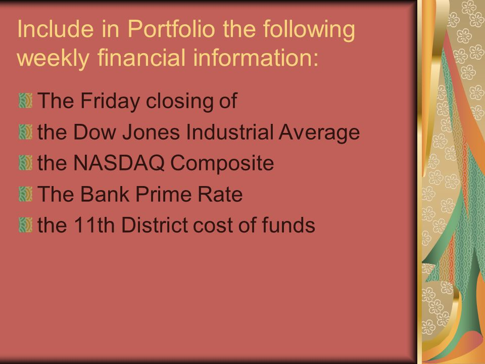 Include in Portfolio the following weekly financial information: The Friday closing of the Dow Jones Industrial Average the NASDAQ Composite The Bank Prime Rate the 11th District cost of funds