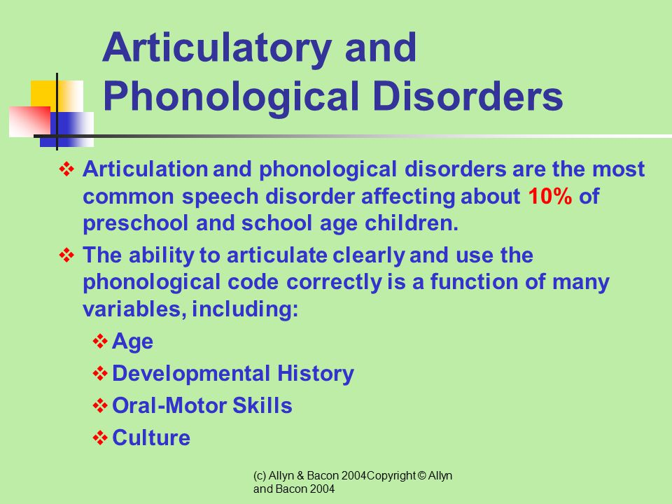 (c) Allyn & Bacon 2004Copyright © Allyn and Bacon 2004 Types of Speech Disorders Articulatory & Phonological Disorders Voice Disorders Fluency Disorde