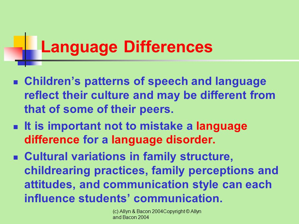 (c) Allyn & Bacon 2004Copyright © Allyn and Bacon 2004 Classroom Adaptations for Students with Language Disorders  Use Music and Play Games to Improv