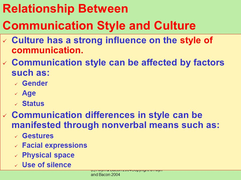(c) Allyn & Bacon 2004Copyright © Allyn and Bacon 2004 Children's patterns of speech and language reflect their culture and may be different from that