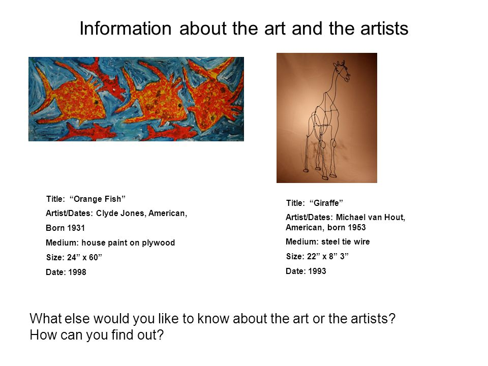 """Information about the art and the artists Title: """"Orange Fish"""" Artist/Dates: Clyde Jones, American, Born 1931 Medium: house paint on plywood Size: 24"""""""
