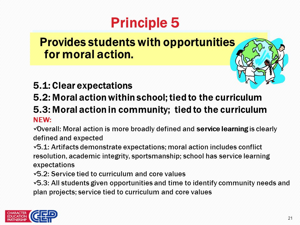 20 Creates a caring community. 4.1: Student – staff relationships 4.2: Student – student relationships 4.3: Peer cruelty prevention 4.4: Adult relatio