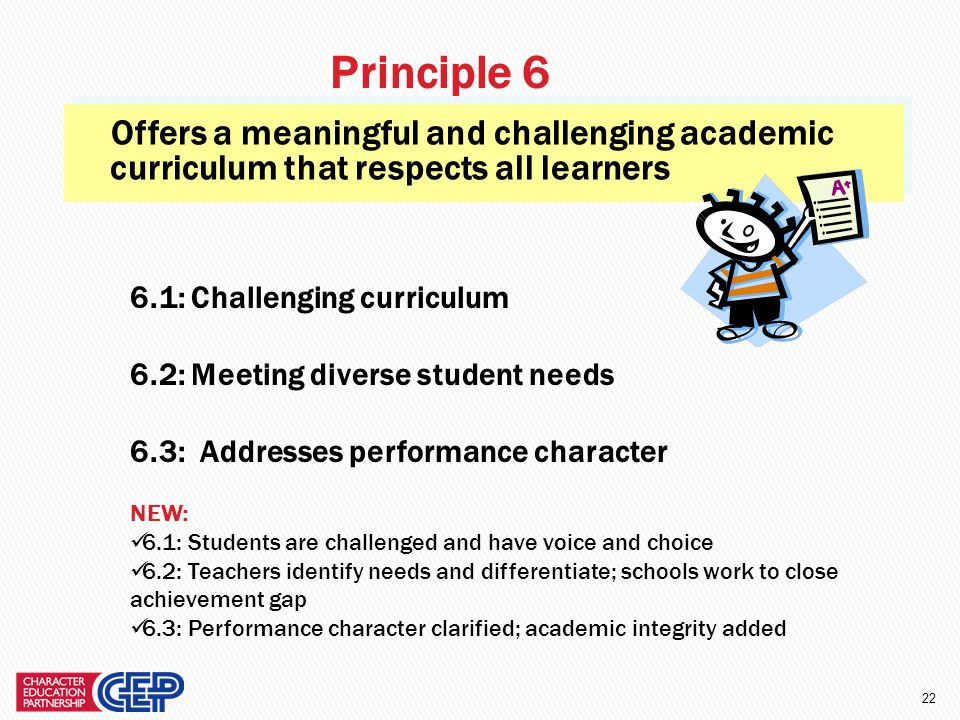 21 Provides students with opportunities for moral action. 5.1: Clear expectations 5.2: Moral action within school; tied to the curriculum 5.3: Moral a