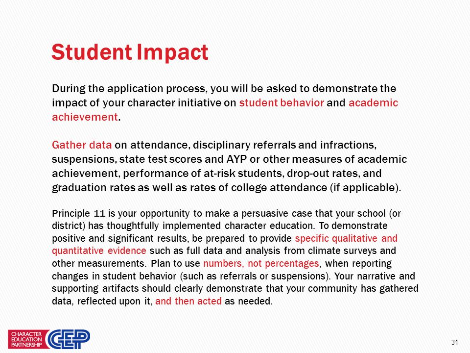 30 During the application process, you will be asked how you know that your character education efforts have had an impact on your school culture and climate.