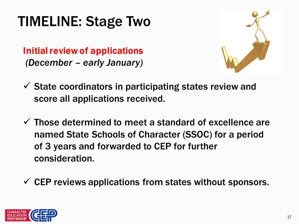 36 Complete the application (Application deadline: December 3, 2012) Gather a representative group of stakeholders (administrators, teachers, support staff, parents, community members, and even students, if appropriate) to give input into the application and complete a self-assessment.