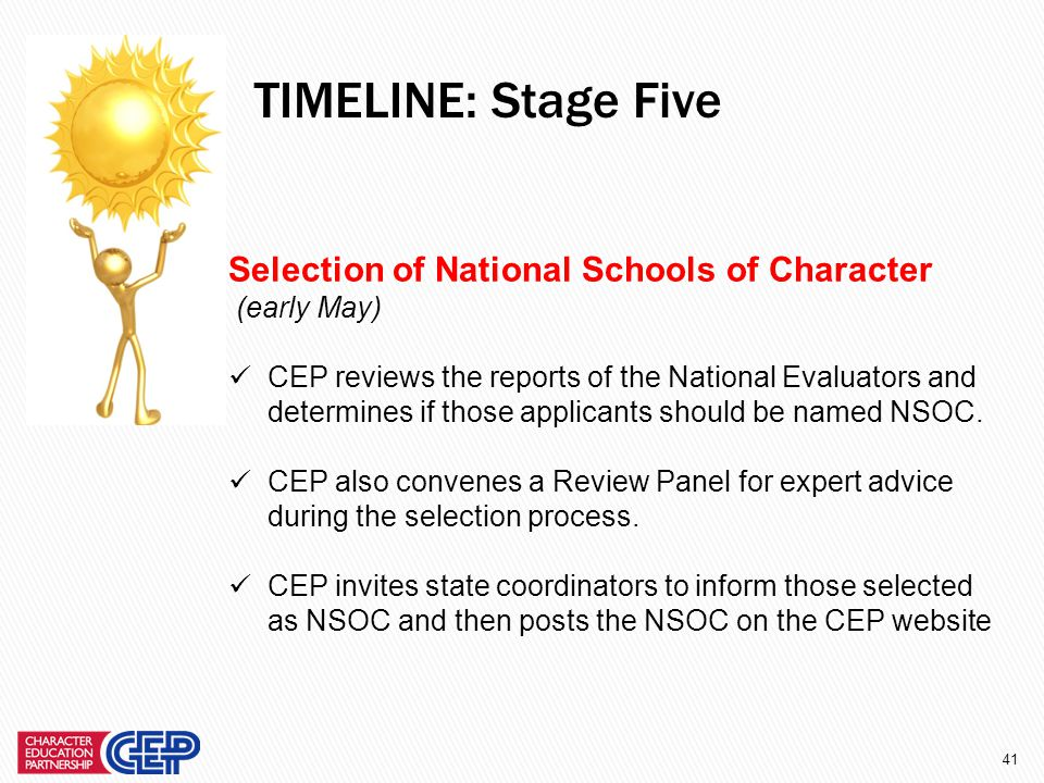 40 National Evaluation of Finalists (March – April) Finalists are assigned National Evaluators and asked to provide additional information online.