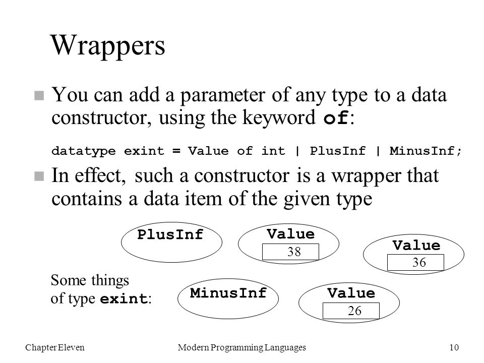 Chapter ElevenModern Programming Languages10 Wrappers You can add a parameter of any type to a data constructor, using the keyword of : datatype exint = Value of int | PlusInf | MinusInf; n In effect, such a constructor is a wrapper that contains a data item of the given type PlusInf Value 36 MinusInfValue 26 Value 38 Some things of type exint :