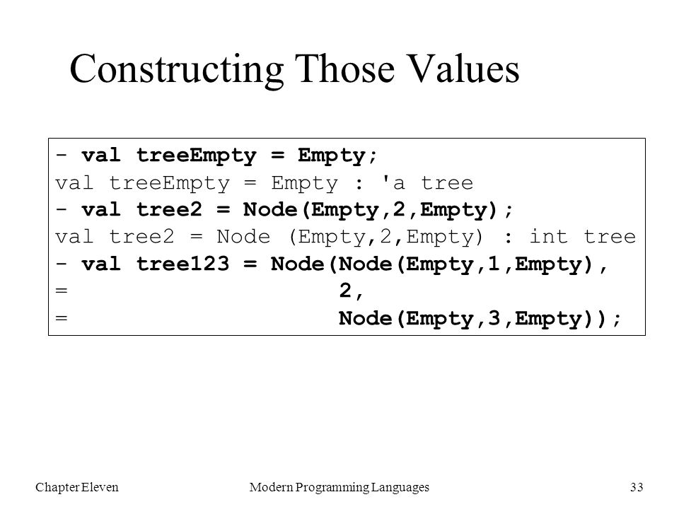 Chapter ElevenModern Programming Languages33 - val treeEmpty = Empty; val treeEmpty = Empty : a tree - val tree2 = Node(Empty,2,Empty); val tree2 = Node (Empty,2,Empty) : int tree - val tree123 = Node(Node(Empty,1,Empty), = 2, = Node(Empty,3,Empty)); Constructing Those Values